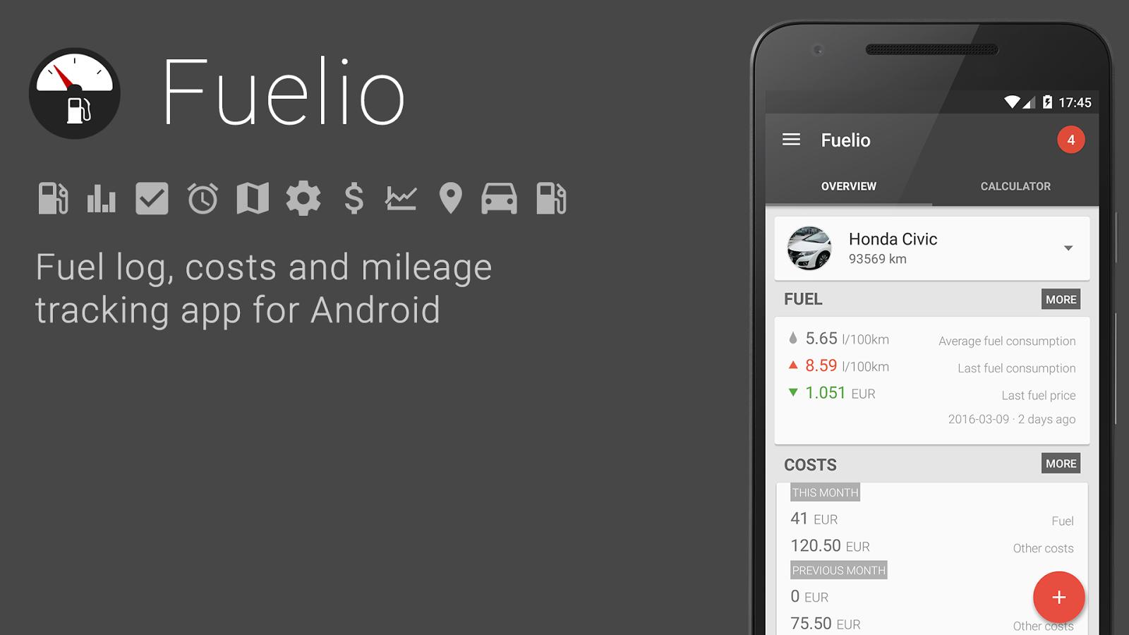Aplikace Fuelio získala mnoho zajímavých novinek