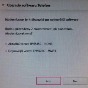 Dostupná aktualizace v programu LG PC Suite