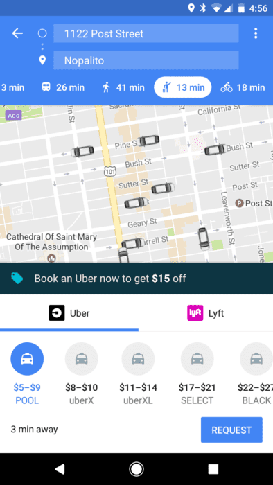 google maps lyft uber