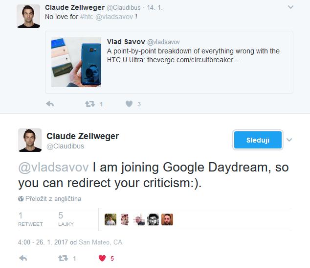 Hlavní designer Vive od HTC přechází ke Google na tvorbu Daydreamu