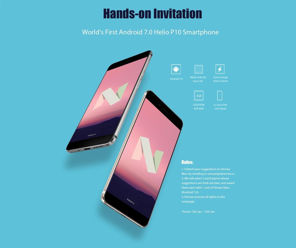 Soutěž o 5 smartphonů Vernee Mars s Androidem 7 [sponzorovaný článek]