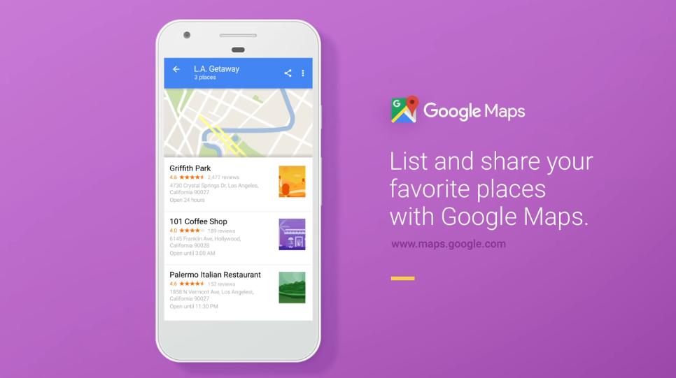 Google Mapy získávají seznamy