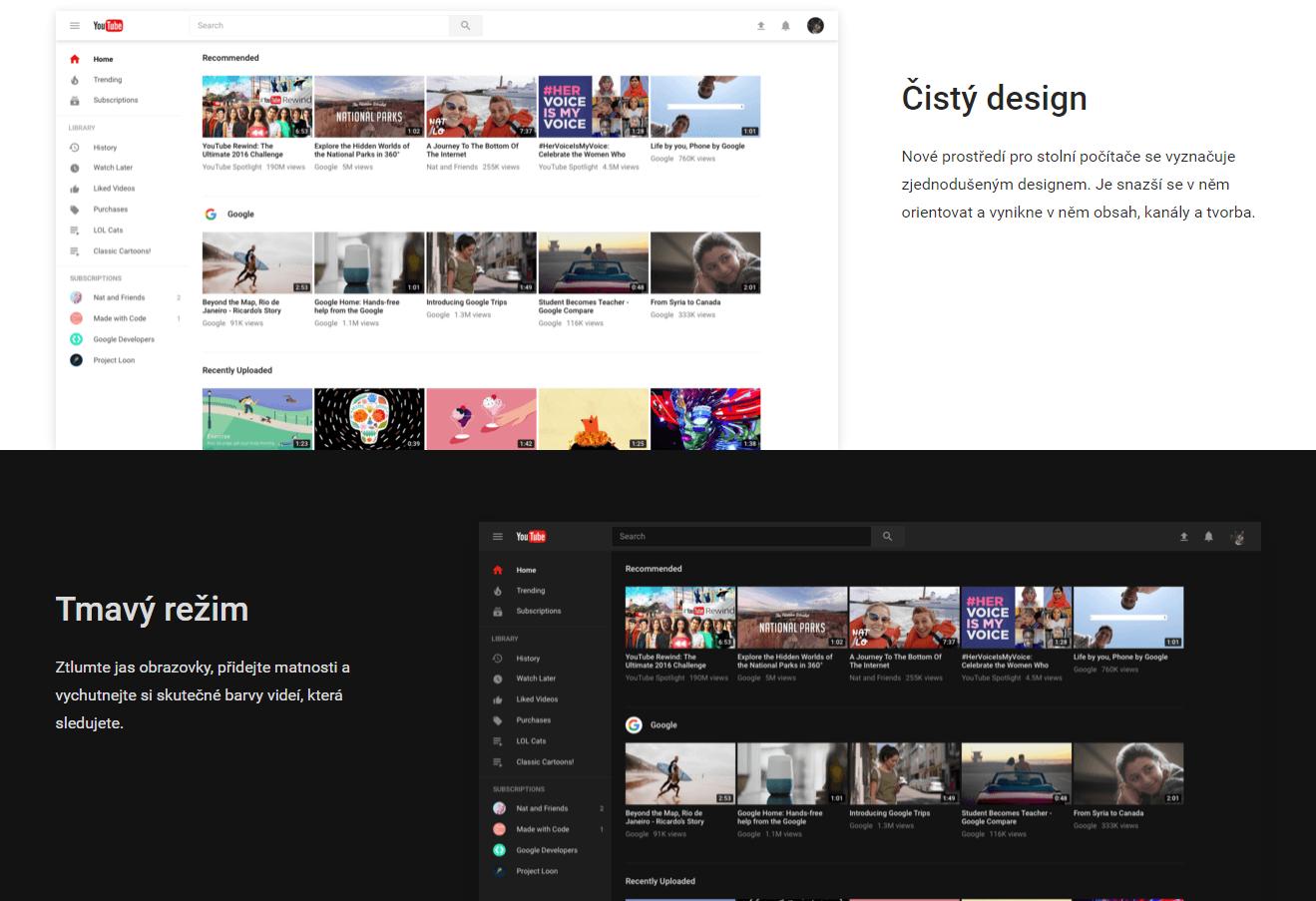 Webový Youtube získává nový vzhled [beta, aktualizováno]