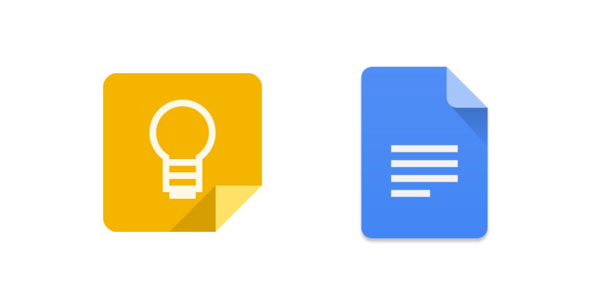Poznámky Google Keep jsou implementovány do Google Docs
