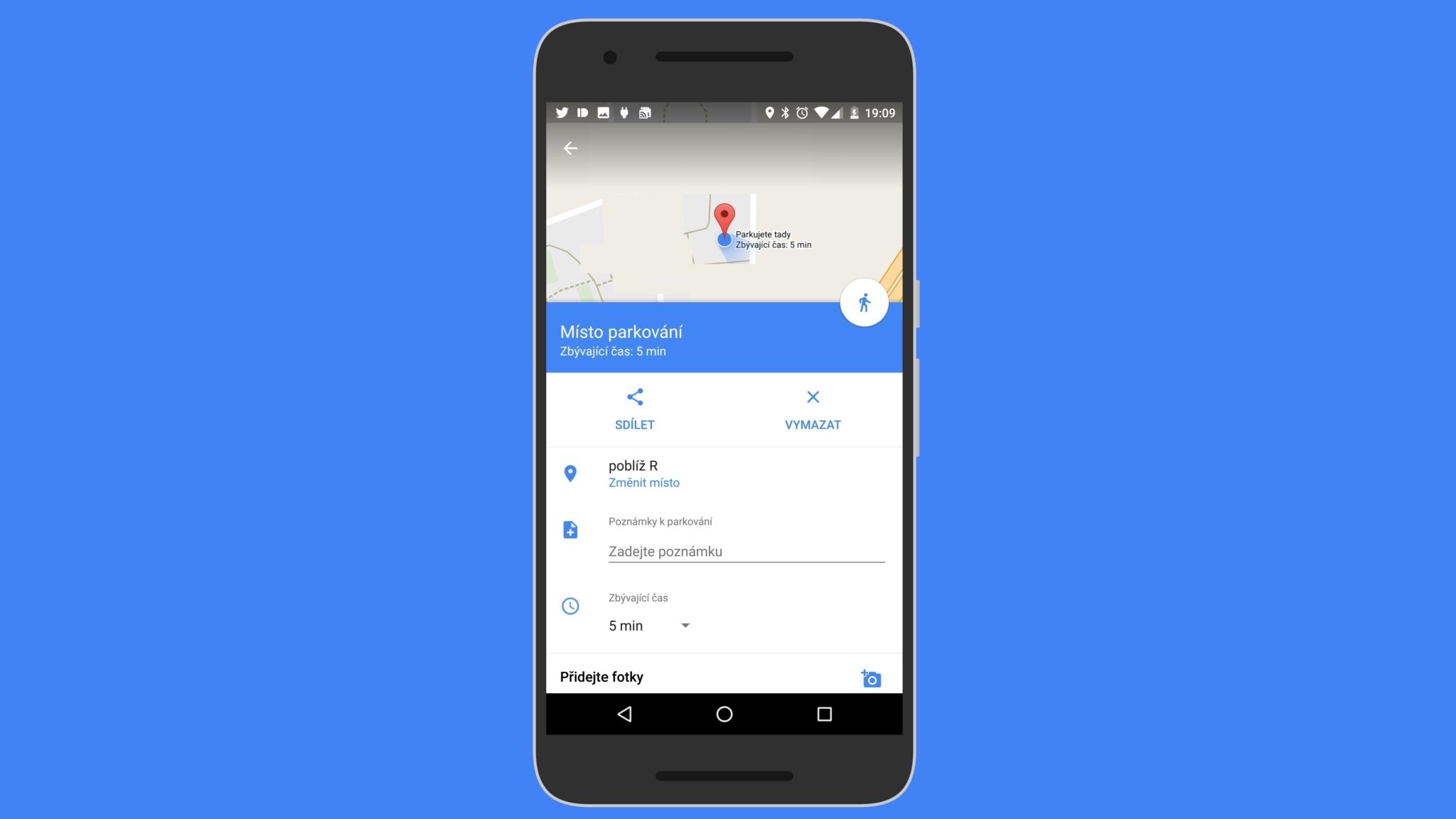Google Mapy vylepšují označení místa parkování