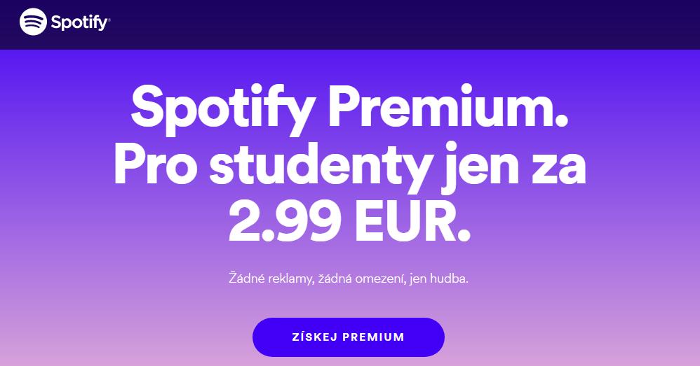 Spotify nabízí studentskou slevu i v České republice