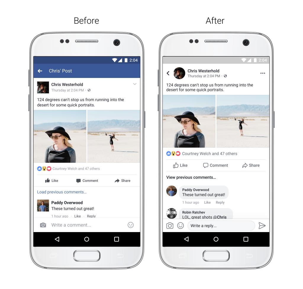 Facebook aplikace prochází grafickou změnou