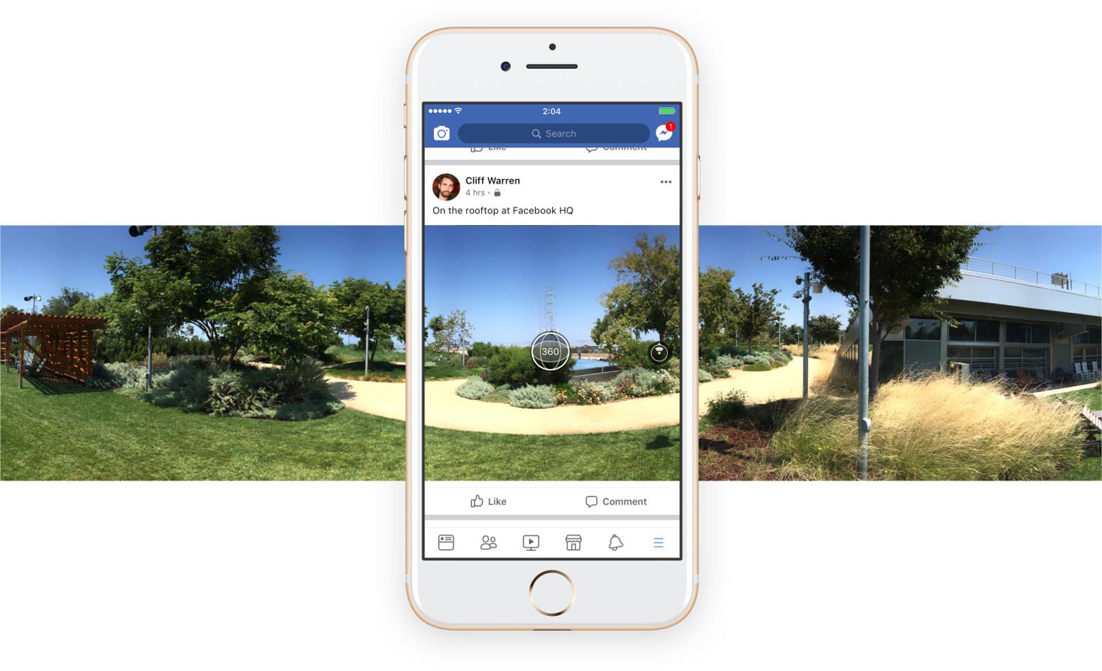 Facebook aplikace nově umožňuje pořizovat 360° fotky, jsou však pouze panoramatické
