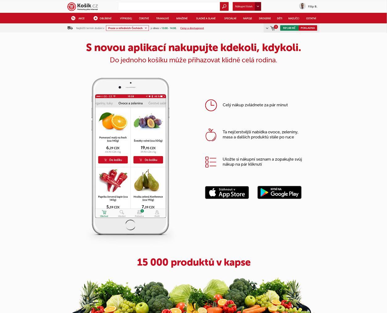 Košík.cz má vlastní aplikaci, je minimalistická a přehledná