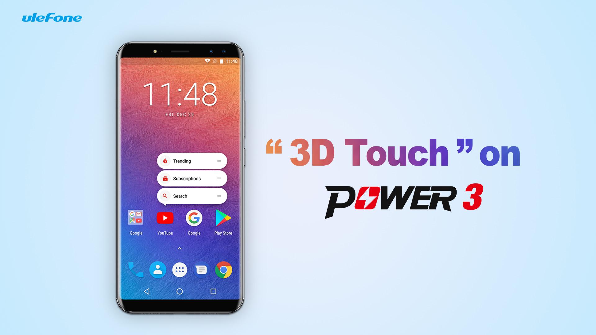 """Jak funguje """"3D Touch"""" na Ulefone Power 3 [Sponzorovaný článek]"""