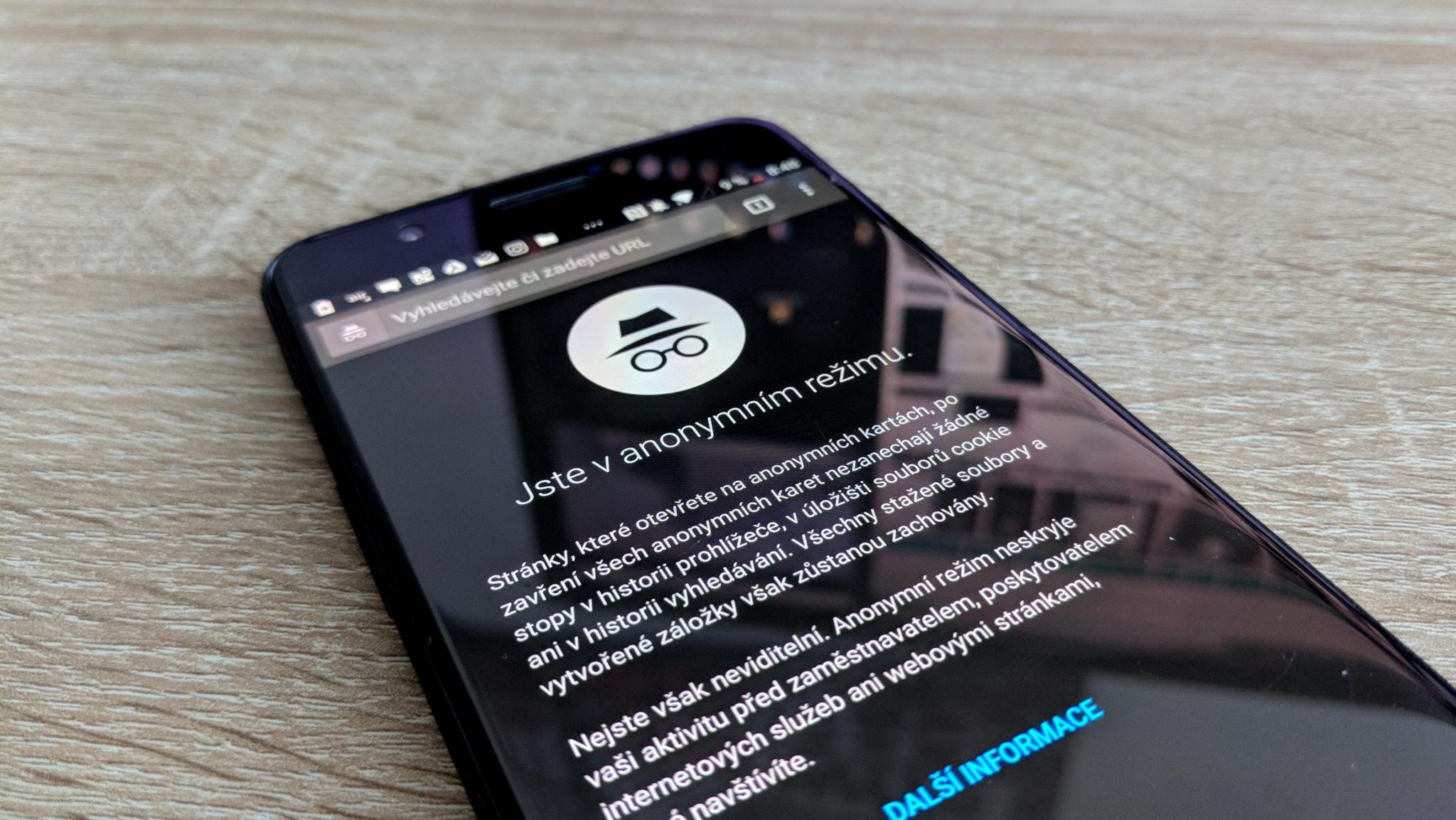 Chrome nedovoluje pořizování snímků obrazovek v anonymním režimu