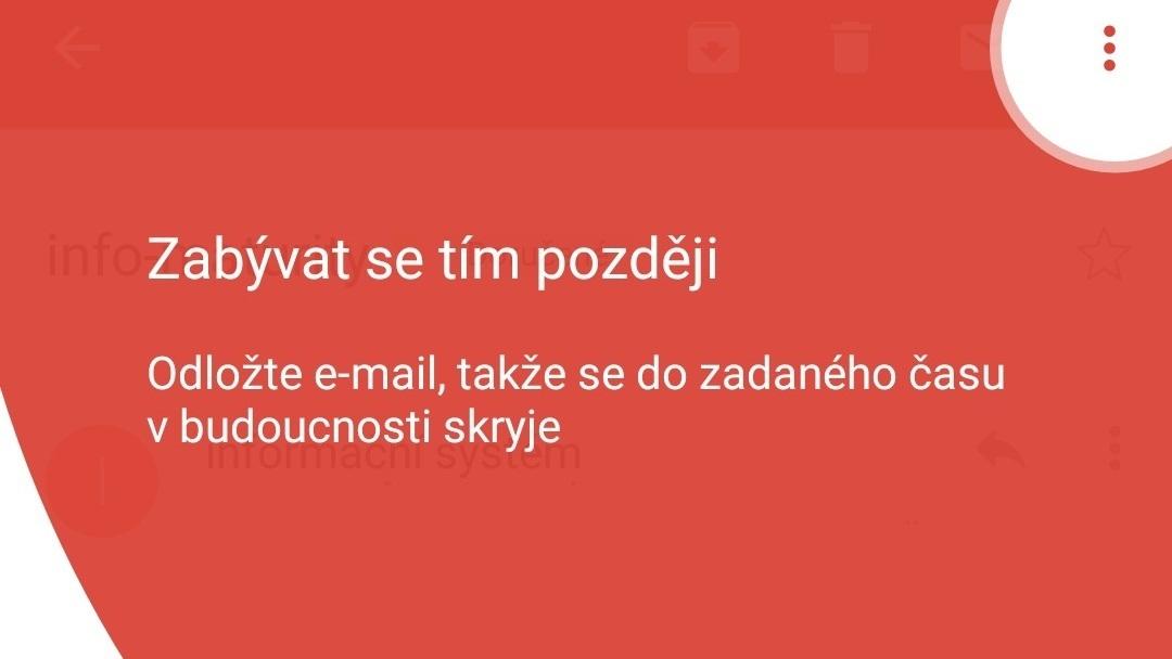 Aplikace Gmail získává možnost odložení emailu