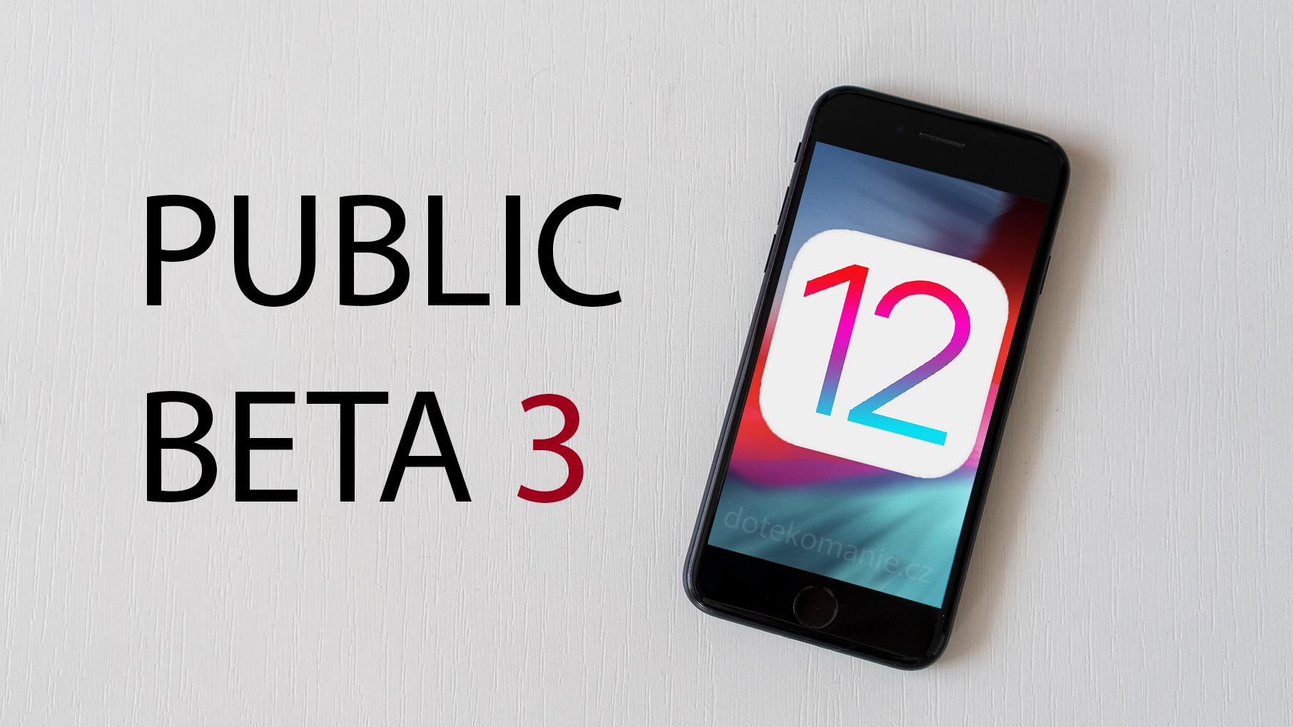 Apple vydal třetí veřejnou betu iOS 12