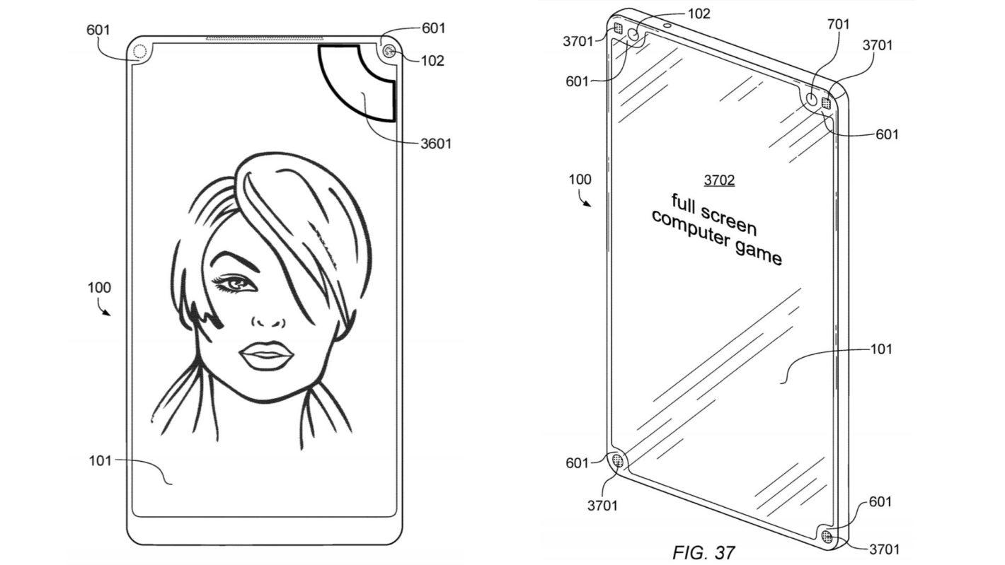Nový patent odhaluje použití čtyř výřezů v displeji