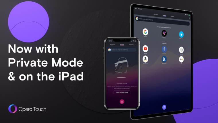 Opera Touch míří na iPad, k dispozici je také nový Private Mode pro iOS