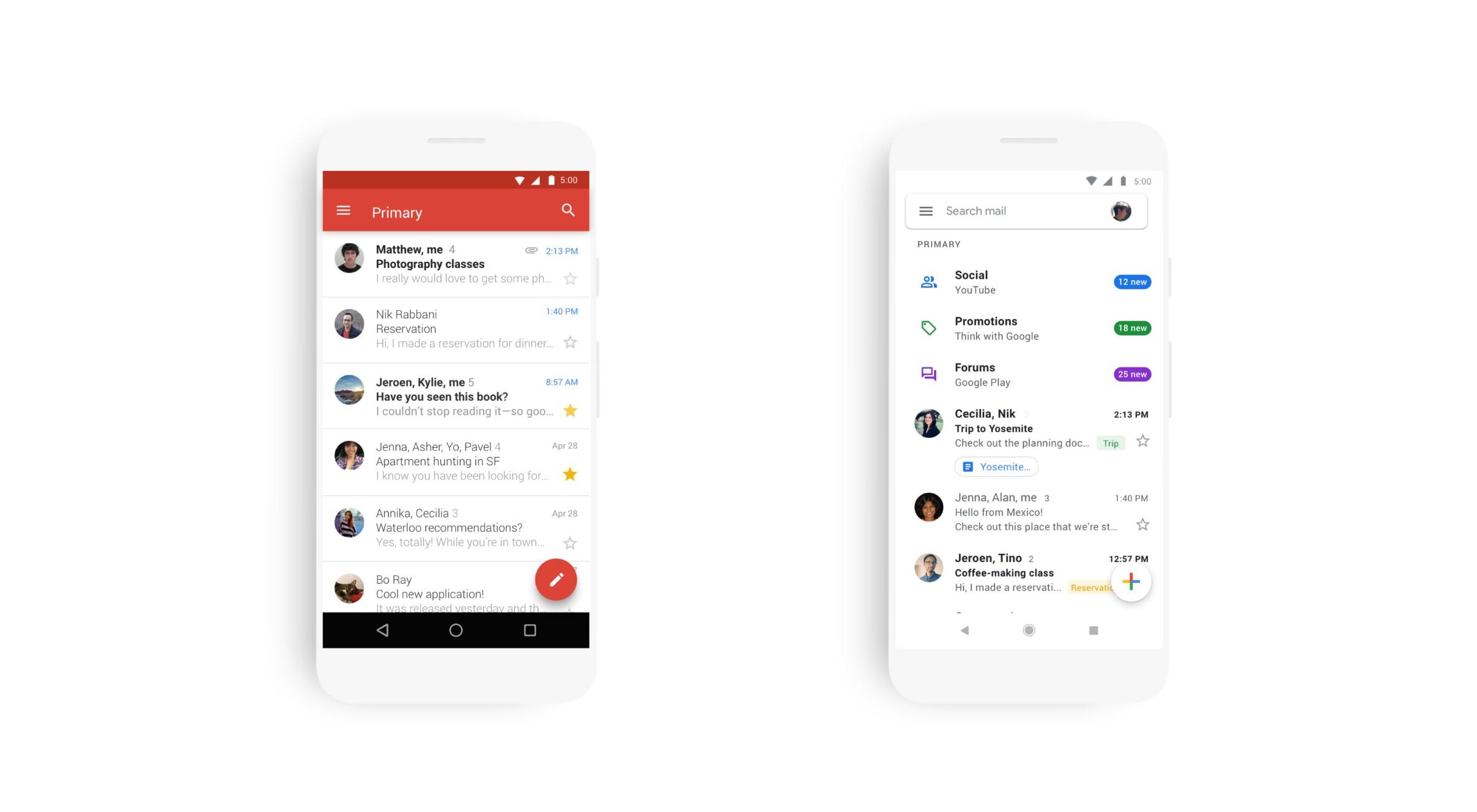 Gmail pro Android a iOS získává nový vzhled [apk]