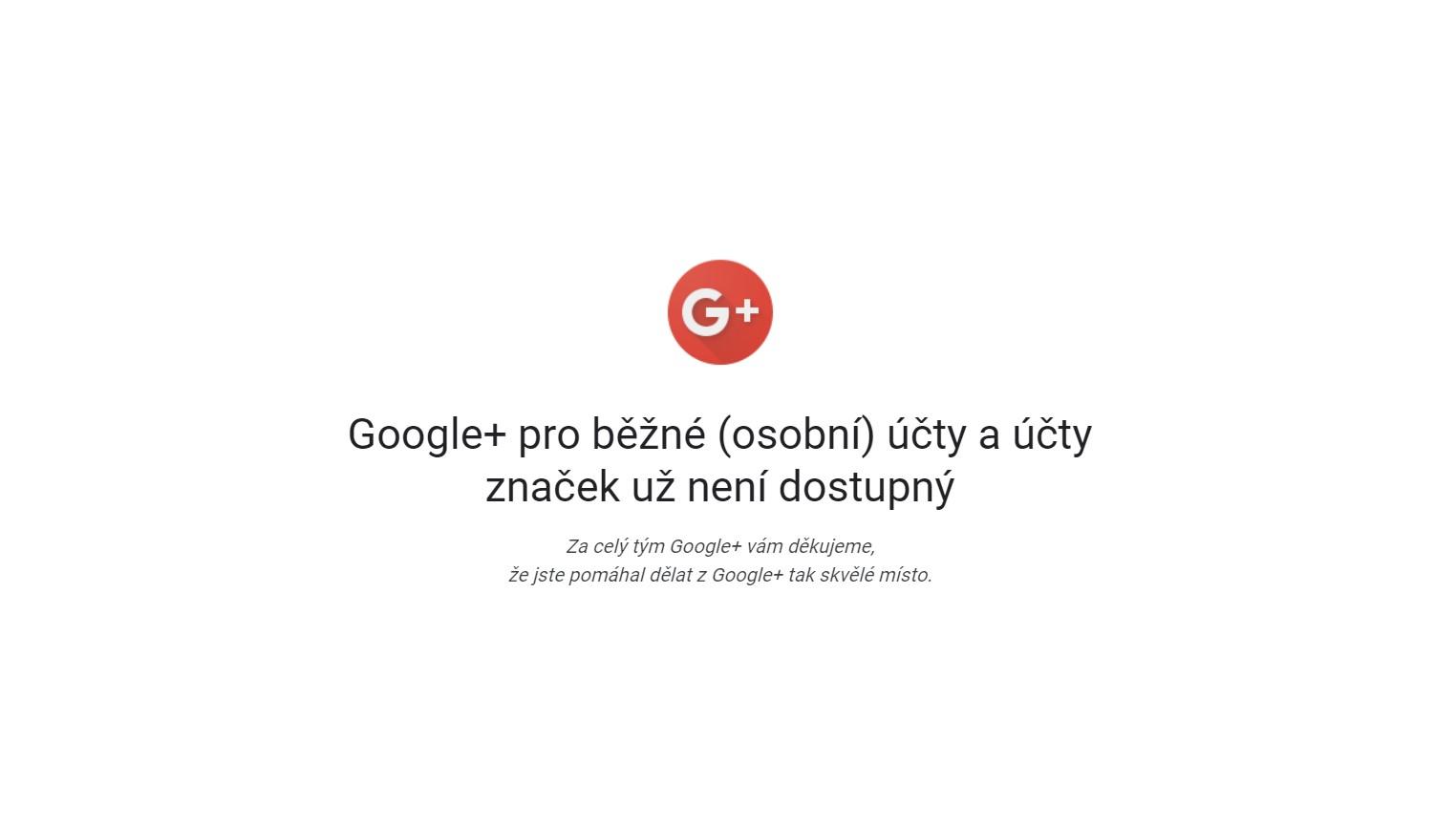 Sociální síť Google+ umřela [aktualizováno]