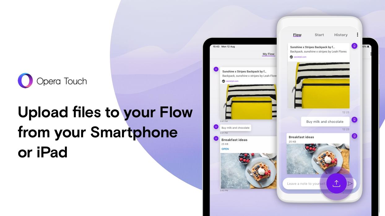 Opera Touch nově se sdílením souborů mezi zařízeními