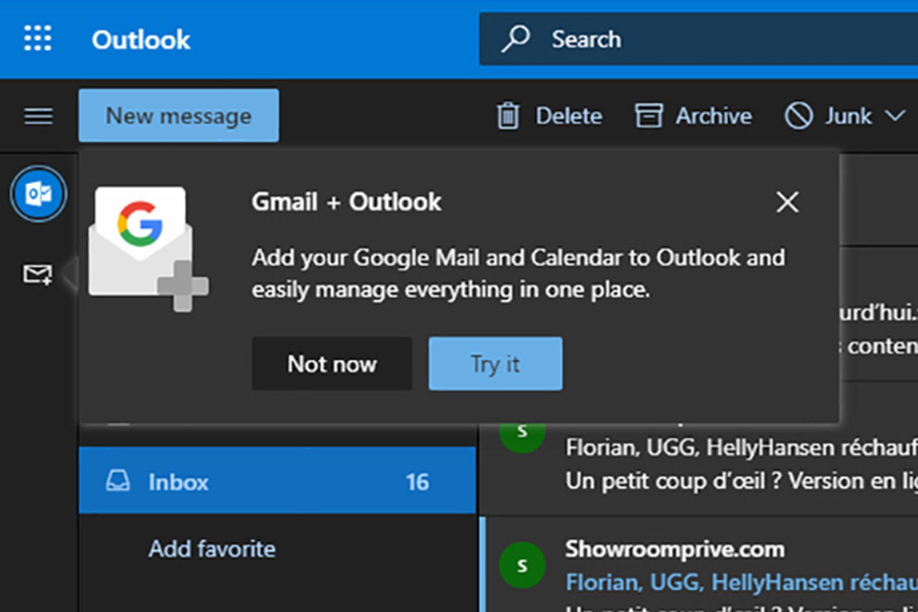 Outlook testuje integraci Gmail, Disk Google a Kalendář Google