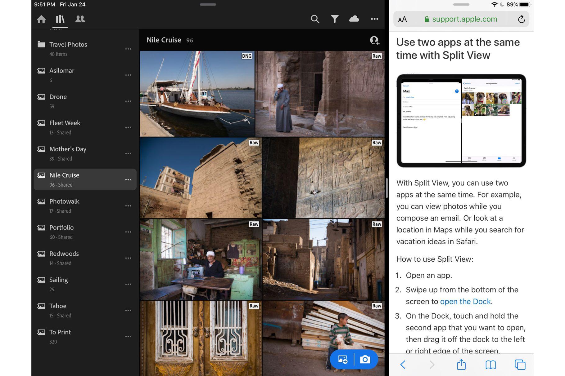 Adobe Lightroom podporuje Split-View a další možnosti
