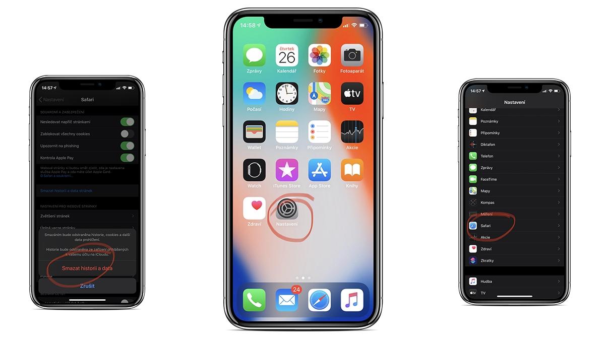iPhone a iPad: Jak vymazat cache v Safari