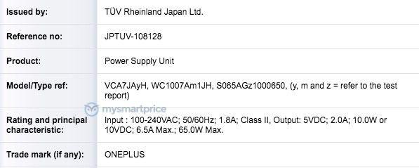 OnePlus 65W Charger TUV Rheinland 597x239x