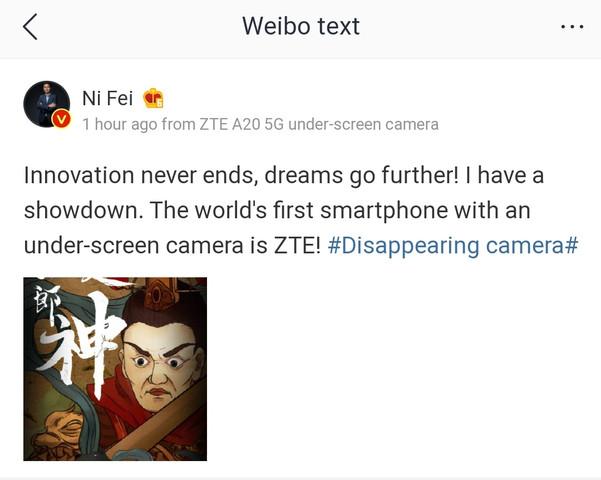 ZTE A20 5G under screen camera 2 601x480x