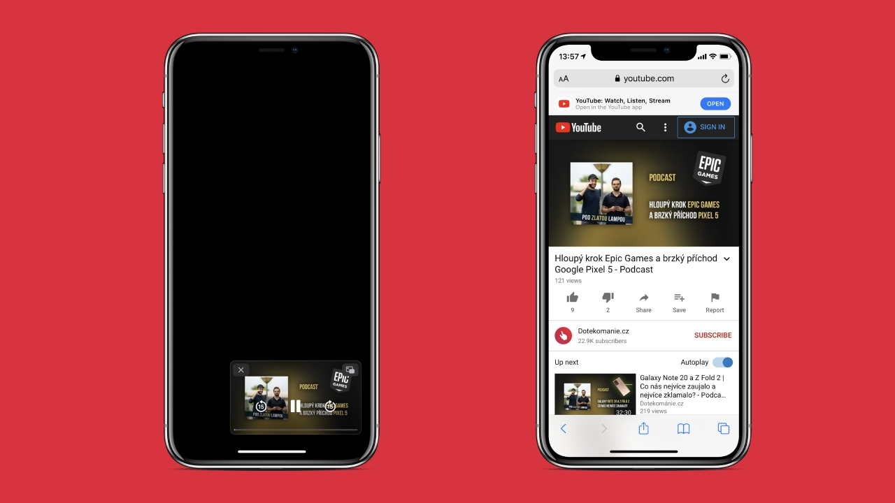 YouTube přestal v iOS 14 podporovat Picture-in-Picture