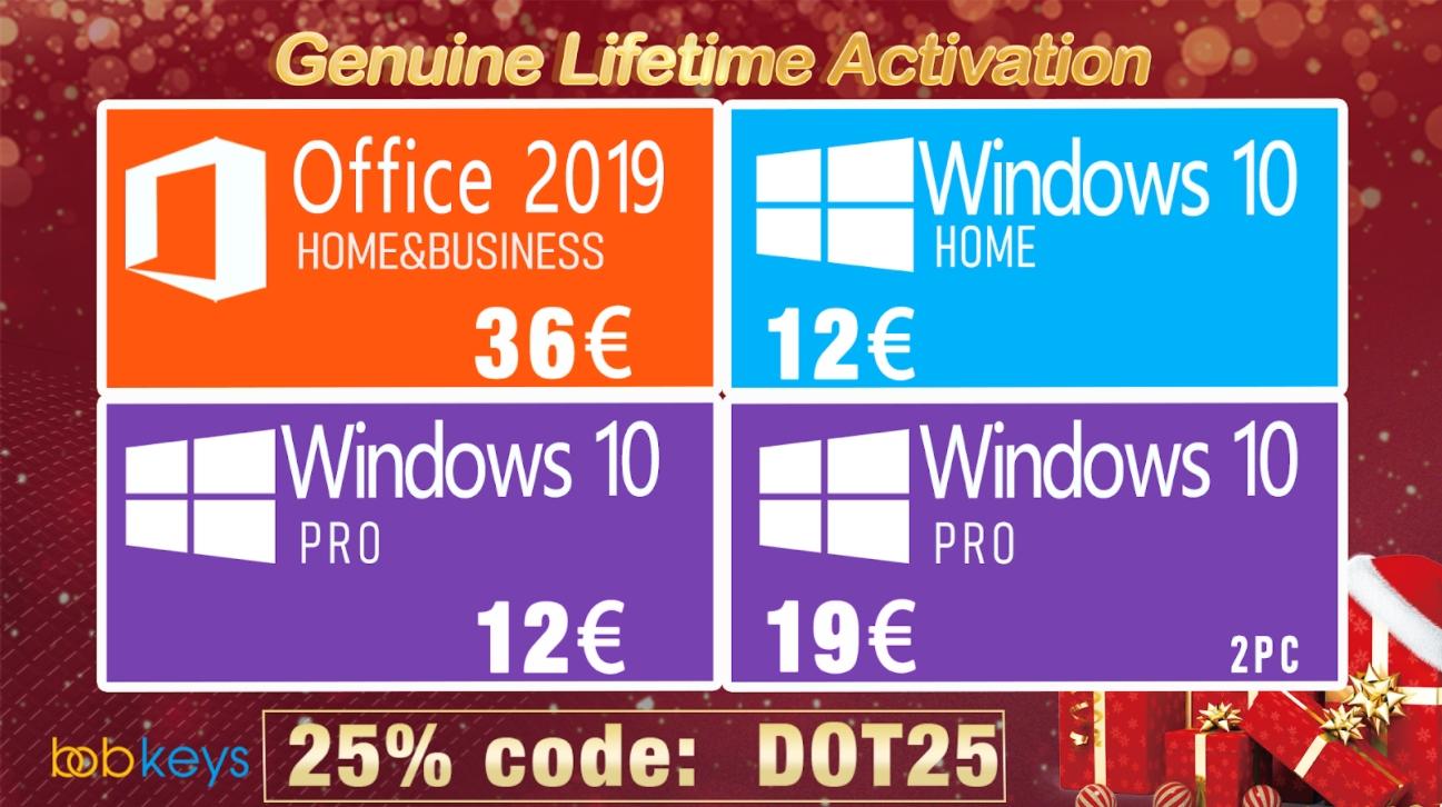 Vánoční dárek: Pravý permanentní Windows 10 Pro jen za 12 € a Office 2016 jen za 23 € [sponzorovaný článek]