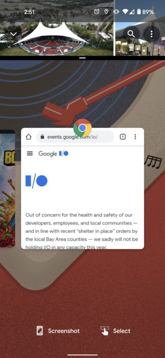 android 11 split screen recents view 1080x2340x