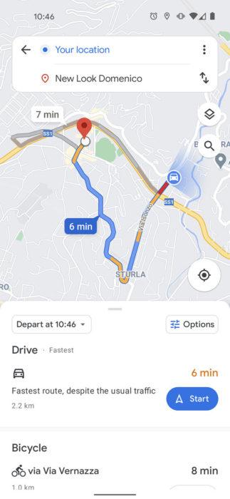 Google Maps new route UI 554x1200x