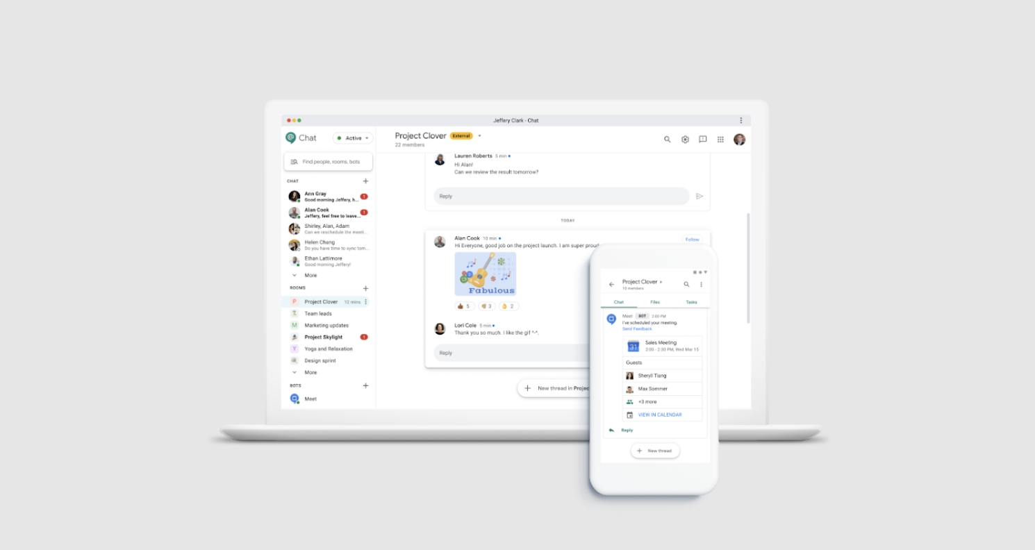 Google Chat dostává novou podobu webové verze