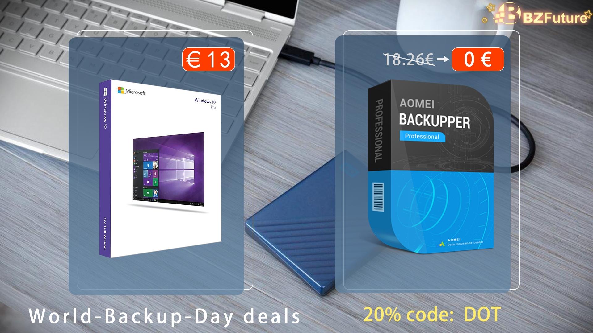 Oslavte mezinárodní den zálohování s Windows 10 za 13 eur, nebo Aomel Backupper zcela zdarma do konce března! [sponzorovaný článek]