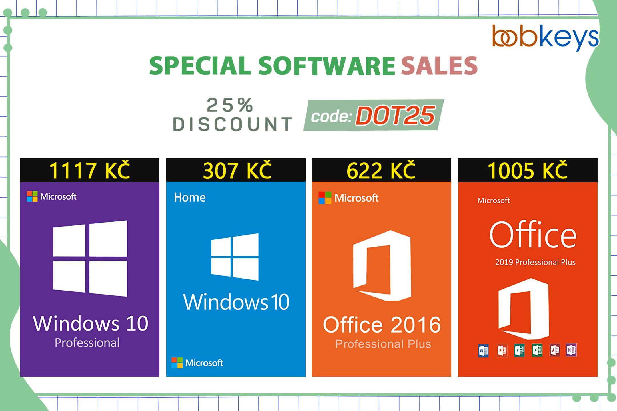 Nezmeškejte jedinečné 25% slevy na Windows 10 a další software od Microsoftu na Bobkeys.com! [sponzorovaný článek]