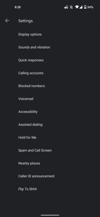 old Google Phone settings 1080x2340x