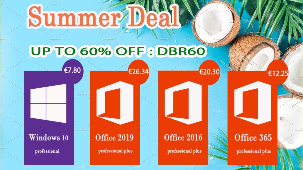 Summer Deal: Windows 10 Pro za 7.8 EUR, Office 2016 Pro za 20.3 EUR [sponzorovaný článek]