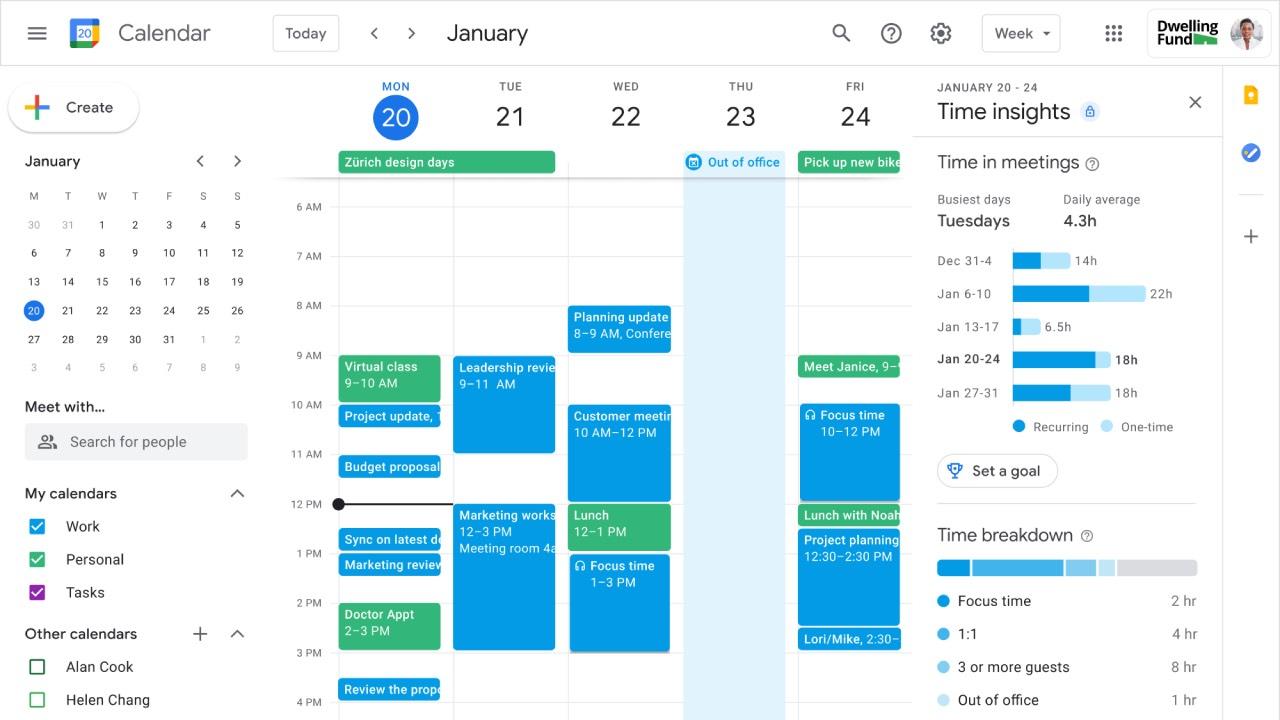 Google Kalendář nově nabídne data o času na schůzkách